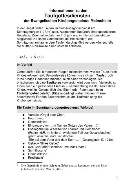 Taufgottesdiensten Evangelische Kirchengemeinde Malmsheim