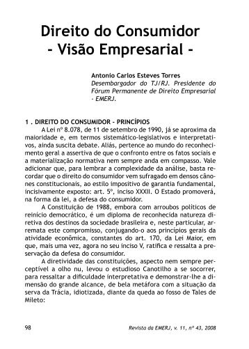 Direito do Consumidor - Visão Empresarial - - Emerj - Tribunal de ...