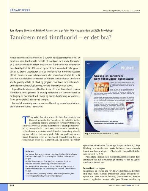Tannkrem med tinnfluorid - Den norske tannlegeforenings Tidende