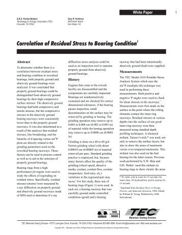 Correlation of Residual Stress to Bearing Condition - Hanmicorp.net