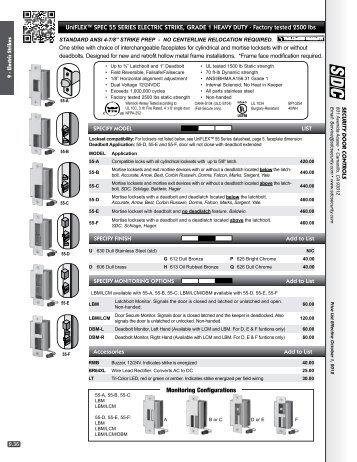 UniFleX™ sPec 55 series electric strike, Grade 1 heaVy dUty ...