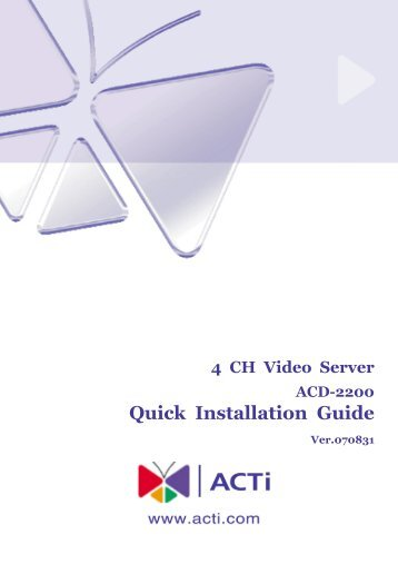 Quick Installation Guide - Security Camera World