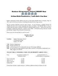Radnor Elementary School SMART Run 5k Run/Walk Fundraiser, 1 ...