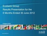 Results Presentation for the 6 Months Ended 30 June 2012 - Ecobank
