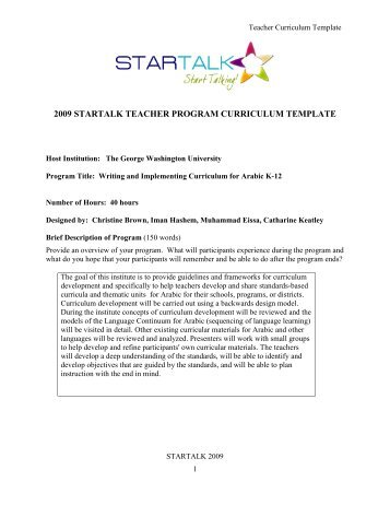 TEACHER PROGRAM CURRICULUM TEMPLATE & GUIDE - StarTalk