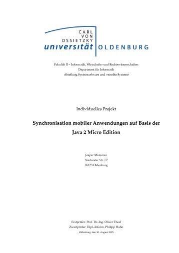 Synchronisation mobiler Anwendungen auf Basis der Java 2 Micro ...