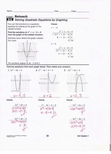 Reteach Solving Quadratic Equations by Factoring 9-6 - TeacherWeb