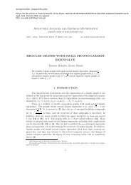 regular graphs with small second largest eigenvalue - Applicable ...