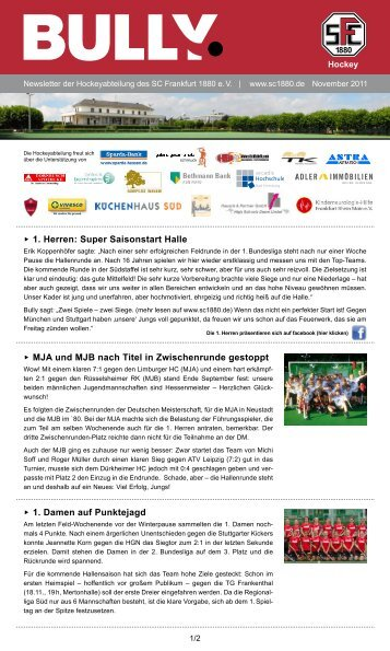 Bully Newsletter November 2011 - zum SC Frankfurt 1880
