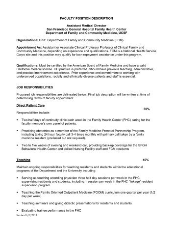 "Position Description €"" Program Director And Chair - University"