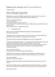 1 Ich glaube an Gott – zum Credo, Predigt von Pfr. Heinz-Ulrich ...