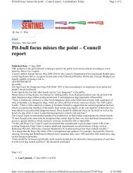 Pit-bull focus misses the point – Council report - Understand-A-Bull