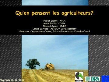 Qu'en pensent les agriculteurs? - INRA Montpellier