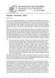 Nr. 30, Juli 2006 - AK Geographie und Geschlecht