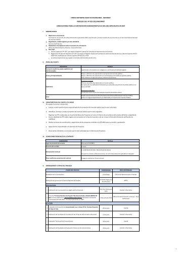 Convocatoria para Contratación Administrativa de ... - Invermet