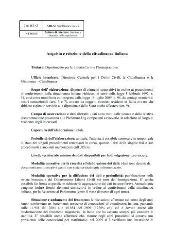 Acquisto e reiezione della Cittadinanza Italiana - anno 2009 - Ssai
