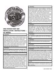 2002 dodge ram 1500 installation instructions - Performance ...