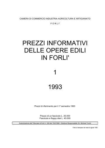 prezzi informativi delle opere edili in forli' 1 1993 - Camera di ...