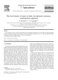 The local density of states in finite size photonic structures ... - COPS