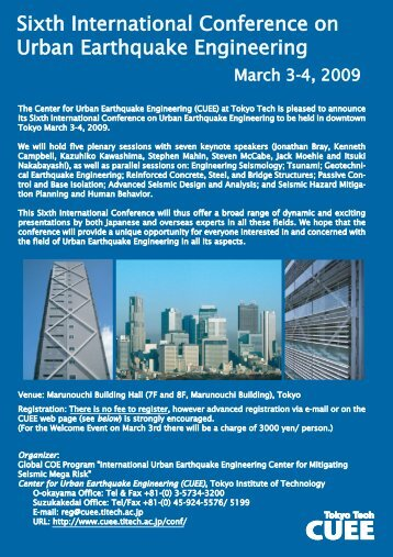 Sixth International Conference on Urban Earthquake Engineering