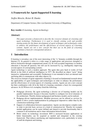 A Framework for Agent-Supported E-learning 1 Introduction - ICL