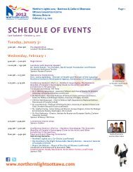 SCHEDULE OF EVENTS - Northern Lights 2014