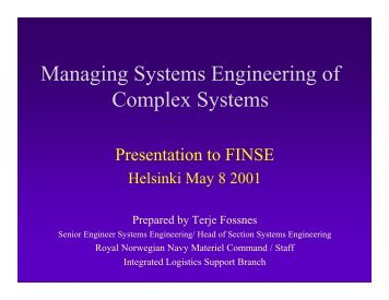 Managing Systems Engineering of Complex Systems - FINSE