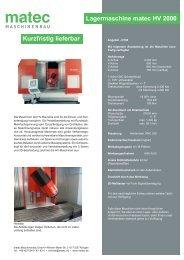 Kurzfristig lieferbar Lagermaschine matec-30 HV