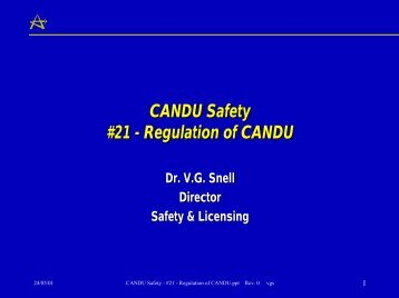 CANDU Safety #21 - Regulation of CANDU - Canteach