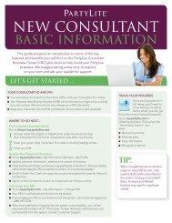 NEW CONSULTANT - PartyLite Consultant Business Center