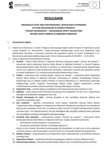 Regulamin (KLIKNIJ) - Wyższa Szkoła Biznesu w Dąbrowie Górniczej
