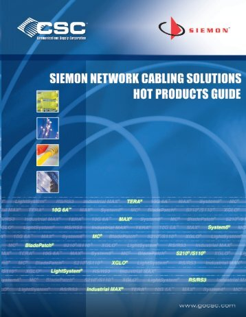 Download CSC and Siemons' Hot Products Guide in .pdf format now