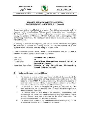 DOCUMENTALIST/ARCHIVIST - African Union