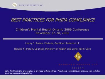 Best Practices for PHIPA Compliance - Children's Mental Health ...