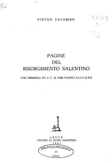 PAGINE DEL RISORGIMENTO SALENTINO - culturaservizi.it