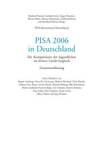 PISA 2006 in Deutschland. Die Kompetenzen der Jugendlichen