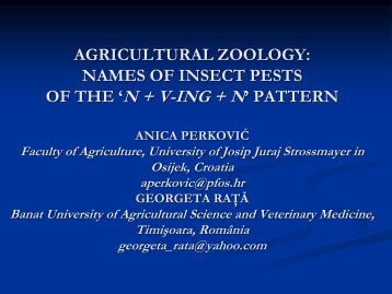 AGRICULTURAL ZOOLOGY: NAMES OF INSECT PESTS OF THE ...