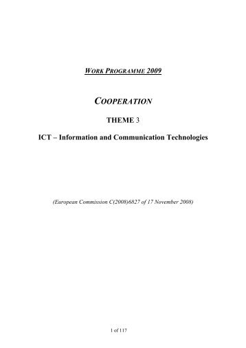 work programme 2009 ICT - ideal-ist
