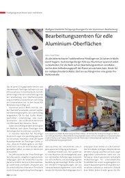 Bearbeitungszentren für edle Aluminium-Oberflächen - matec
