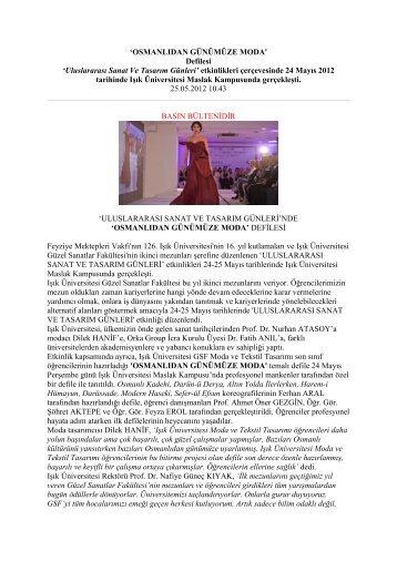 Osmanlıdan Günümüze Moda' defilesi - Işık Üniversitesi