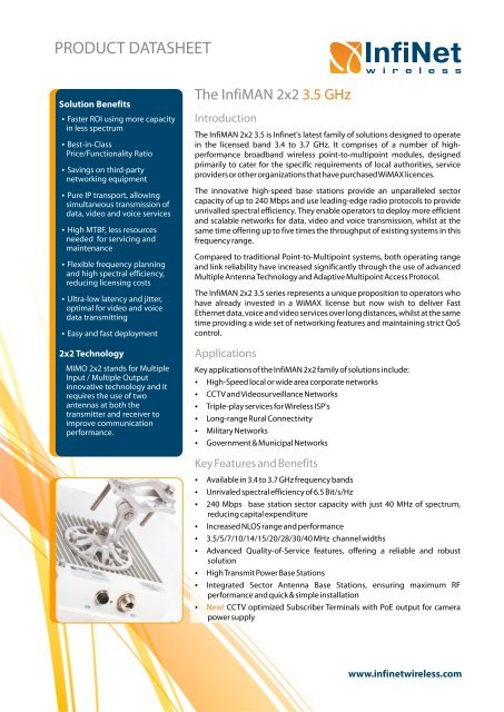InfiMAN 2x2 3.5 GHz Product Datasheet - Leading provider of ...