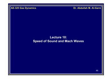 Speed of Sound and Mach Waves - KFUPM Open Courseware