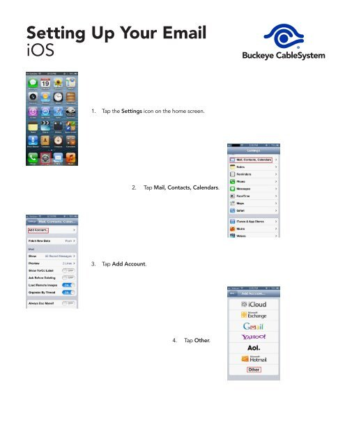Setting Up Your Email iOS - Buckeye CableSystem