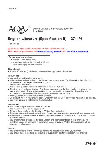 aqa english coursework mark scheme 2010