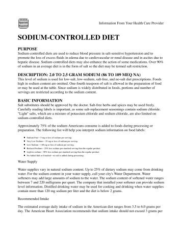 SODIUM-CONTROLLED DIET