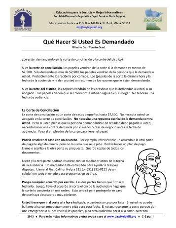 Qué Hacer Si Usted Es Demandado - LawHelpMN.org