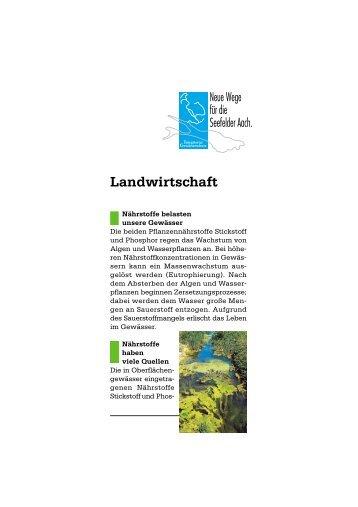 """Faltblatt """"Landwirtschaft"""" - Aktionsprogramm Seefelder Aach"""