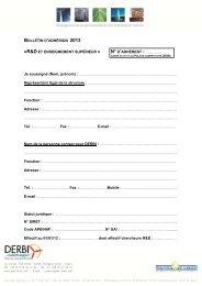 Bulletin d'adhésion à l'association DERBI – Collège 2