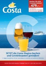 JETZT die Costa Magica buchen und Getränkepaket genießen!