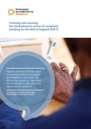 Listening and Learning - the Parliamentary and Health Service ...